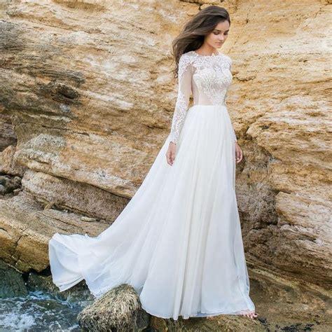 long sleeve white lace bodice chiffon skirt elegant simple