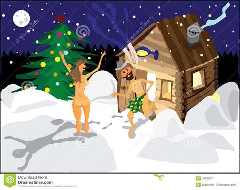 ein mann sauna ein mann und eine frau die in den schnee der sauna auf heiliger nacht springen vektor