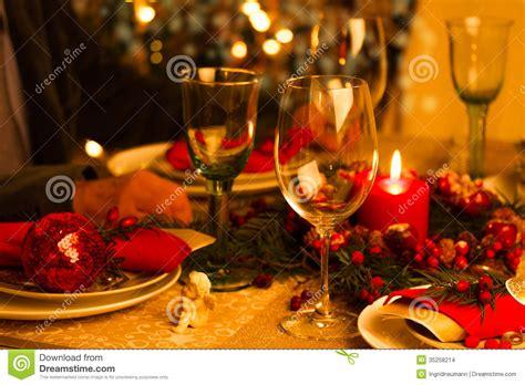christmas table setting  holiday decorations stock