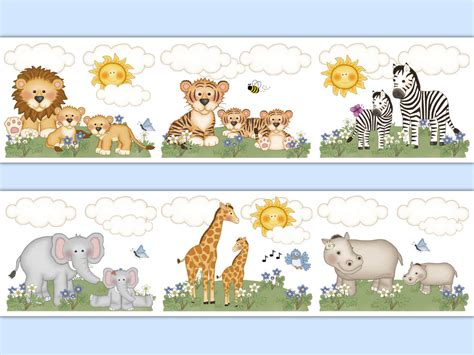 Baby Jungle Animals Wallpaper Border - safari nursery decor wallpaper border animal decal