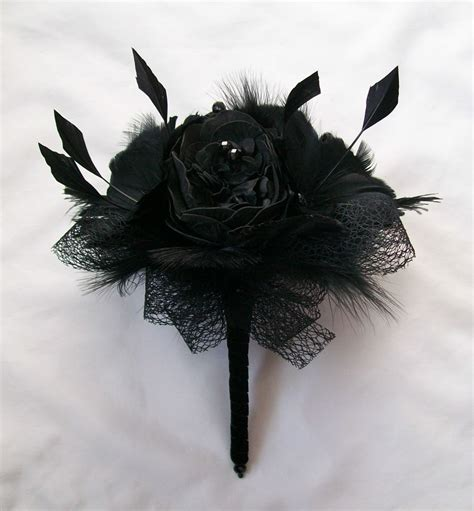 All Black Peony Feather Flower Crystal And Ostrich Feather
