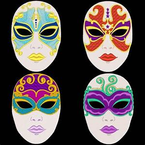FANTASY CARNIVAL MASKS -- 36 Designs Machine Embroidery