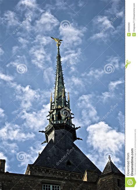 mont sain michel steeple with st michel statue stock photo image 20930260