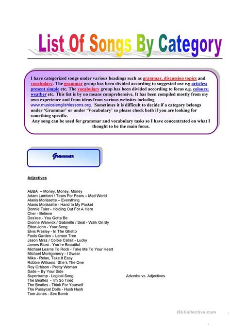 List Of Songs By Category Such As Vocabulary; Grammar; Discussion Topics Etc Worksheet Free