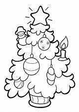 Tree Coloring Christmas Pages Printable Chrismas Holidays Childrens sketch template