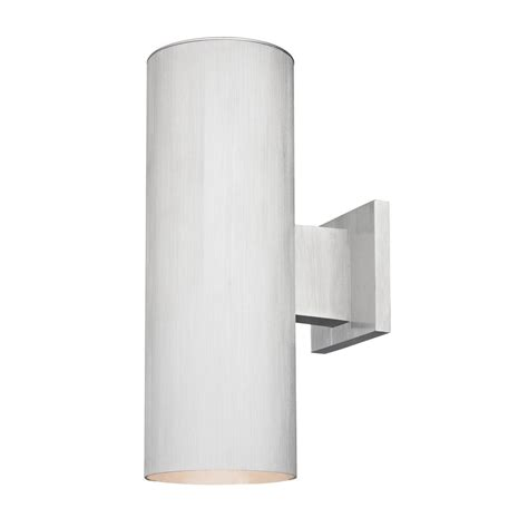 up cylinder outdoor wall light in brushed aluminum
