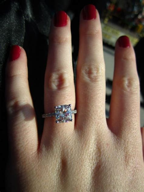 my beautiful 2 carat cushion cut engagement ring