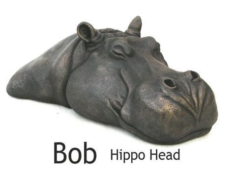 Bob & Grace Hippo Head bronze resin sculptures by Suzie