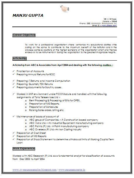 Professional Objective In Cv by Resume Sle Of An Experience Chartered Accountant With