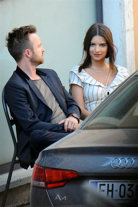 Emily Ratajkowski and Aaron Paul Filming