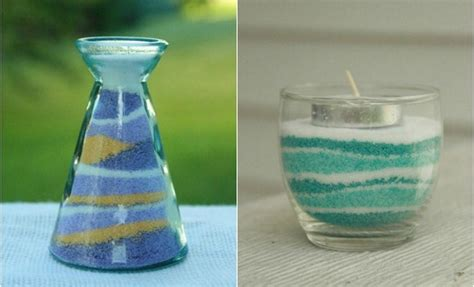 diy colored salt  decorate glass candle holders