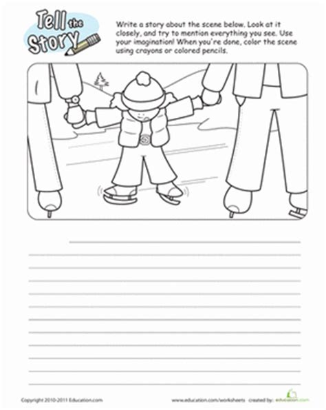 winter second grade composition worksheets ice skating