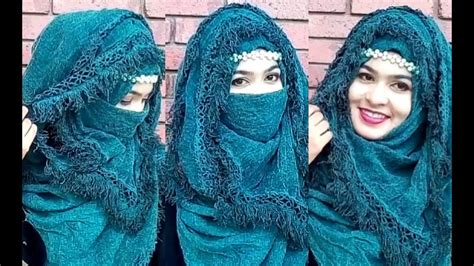 eid special patterned lace hijab style  niqab