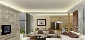 Modern minimalist living dining room lighting rendering