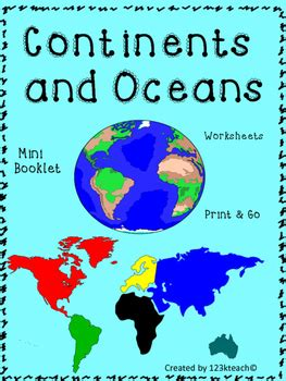 continents  oceans mini booklet  worksheets