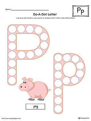 letter p   dot worksheet color  images dot