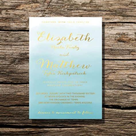 printable wedding invitation ocean blue watercolor floral