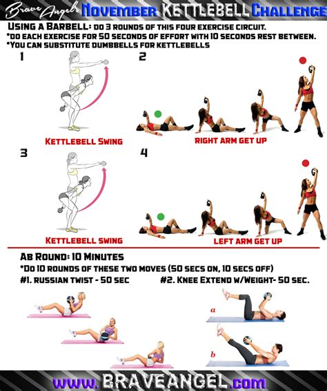 kettlebell workout cardio ab body exercises swing workouts challenge abs swings bing chart exercise training