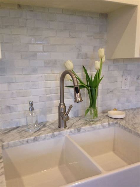carrera white marble  subway tile beveled brick mosaic