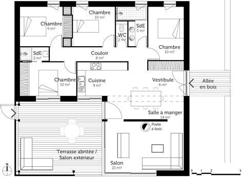 plan de maison avec 4 chambres plan maison cubique 100 m avec 4 chambres ooreka