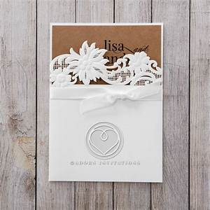 woodland floral laser cut embossed pocket with craft insert With rustic laser cut wedding invitations uk