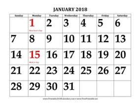 Large Free Printable 2018 Calendar