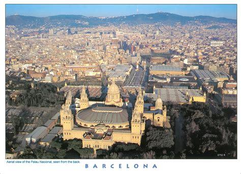 Spain, Barcelona. Aerial view of the Palau Nacional, seen ...
