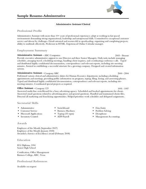 Profile Resume by Resume Professional Profile Exles Professional Profile