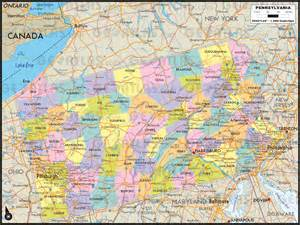Pennsylvania Counties Map with Cities