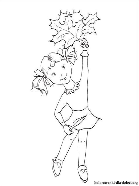 kolorowanka dziewczyna  jesiennych lisci kolorowanki