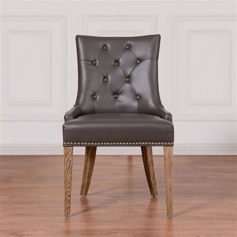 tov furniture uptown grey leather velvet dining chair upt