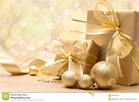 gold christmas gift boxes stock photo image