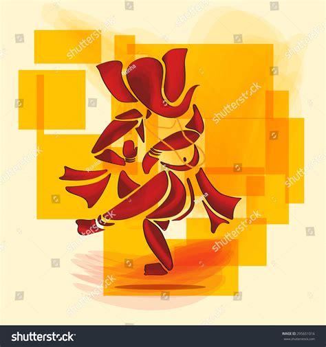 Ganesha Ganesh Hindu God Dance Watercolor Stock Vector