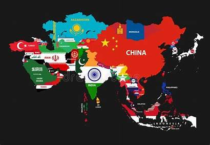 Asia Flags Continent Countries Map Vector Illustration