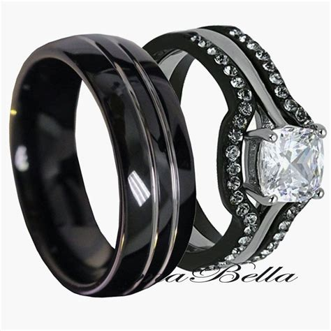 his tungsten hers black stainless steel 4 pc wedding