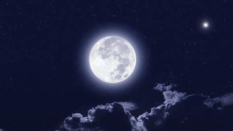 full moon clouds night sky wallpaper