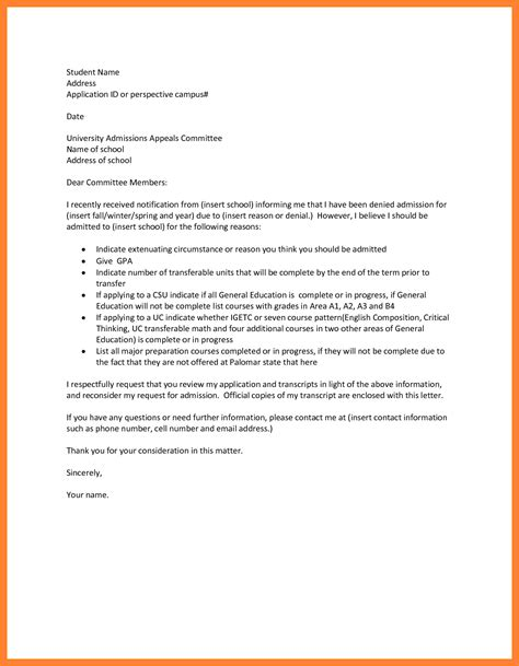write  appeal letter  college appeal letter
