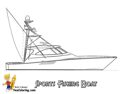 Coloring Pages Of A Fishing Boat by Sportfishing Boat Coloring Picture To Print At Yescoloring