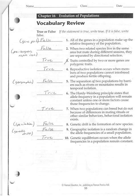 evolution evolution review worksheet
