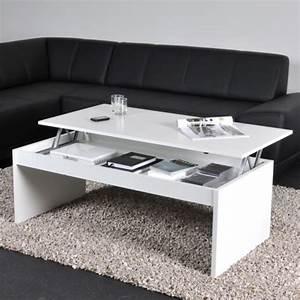 Table Basse Relevable Blanche : table basse b w noir blanc ~ Teatrodelosmanantiales.com Idées de Décoration