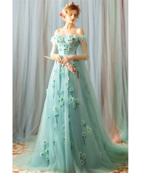 fairy light green  shoulder flowers prom dress long