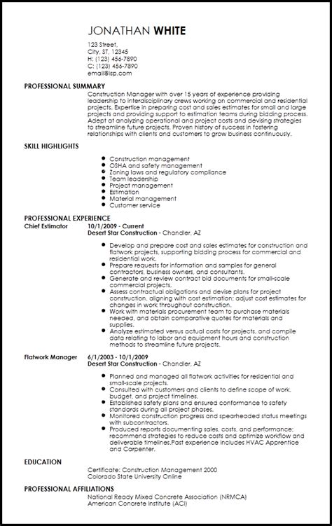 Resume For Construction by Free Professional Construction Resume Templates Resume Now