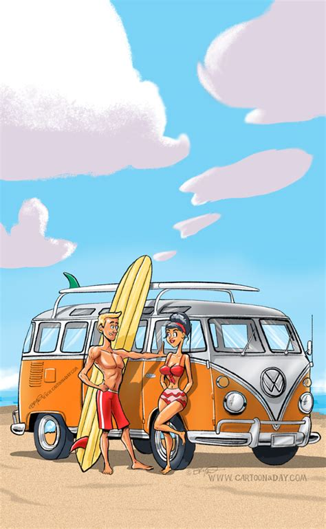 vw microbus cartoon beach cartoon