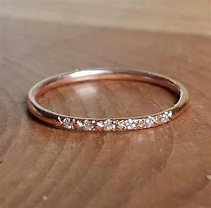 14k pink gold pave diamond ring 14k stacking rings 14k With stacking engagement wedding rings