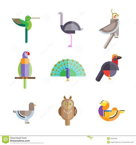 Pájaros Planos Hechos De Figuras Geométricas Ilustración