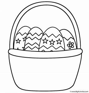 Easter Basket with Easter Eggs - Coloring Page (Easter)