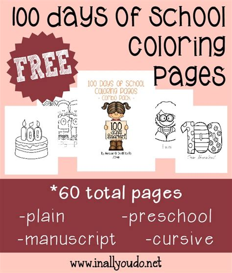 Free 100 Days Of School Coloring Pages {60 Pages}