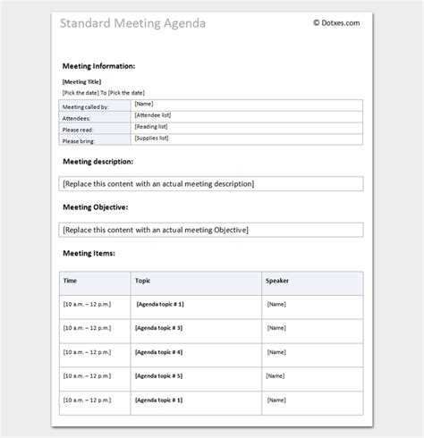 agenda outline template   word excel  format