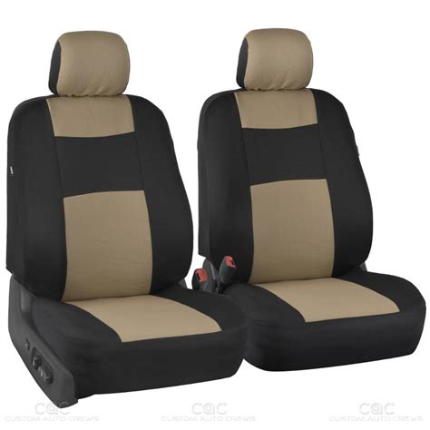 Beige Black Car Seat Covers W Split Bench & Pu Perforated