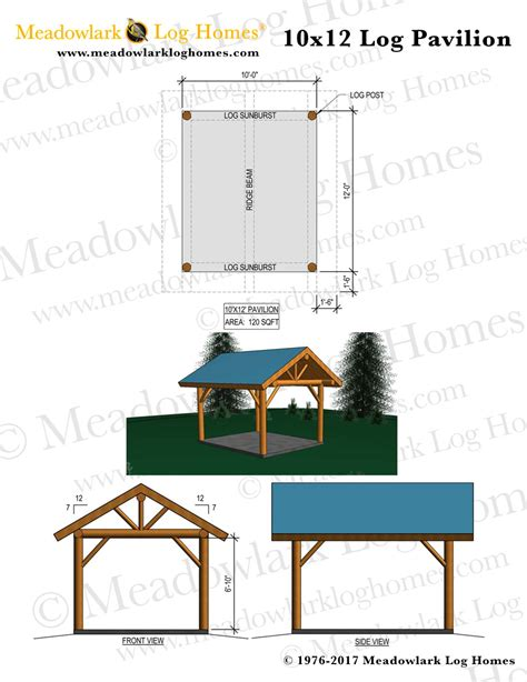 10x12 log pavilion meadowlark log homes